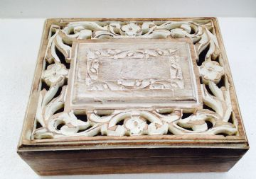 "10x8"" CARVED Mango Box LEAF FLORAL WHITE DESIGN"